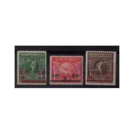 184-186** Overprint -VIIth Olympic games at Antwerp.
